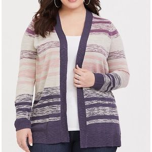 Torrid Taupe & Wild Berry Striped Cardigan Size 3
